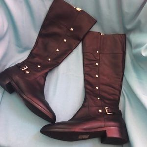 Michael Kors Carney Black Leather Riding Boots 7.5